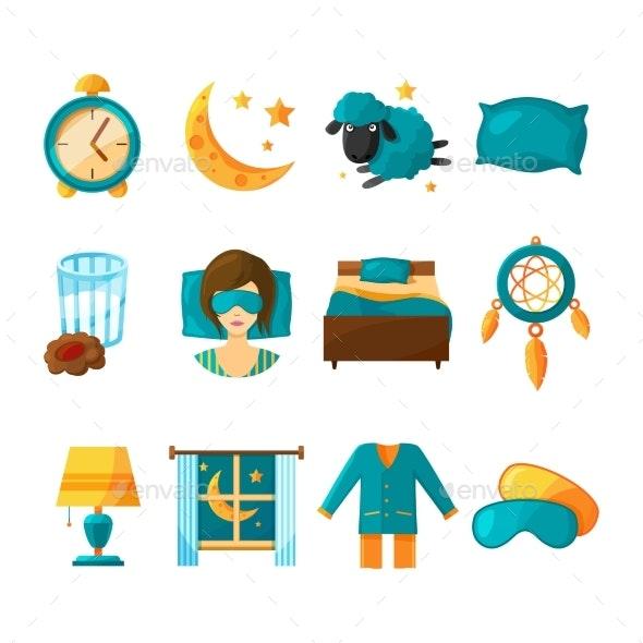 Conceptual Icon Set for Sleeping - Miscellaneous Conceptual