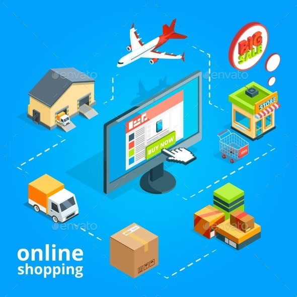 Concept Illustration of Buying Items in Online - Miscellaneous Vectors