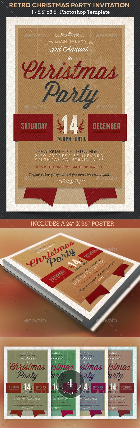 Retro Christmas Party Invitation Template - Holidays Events
