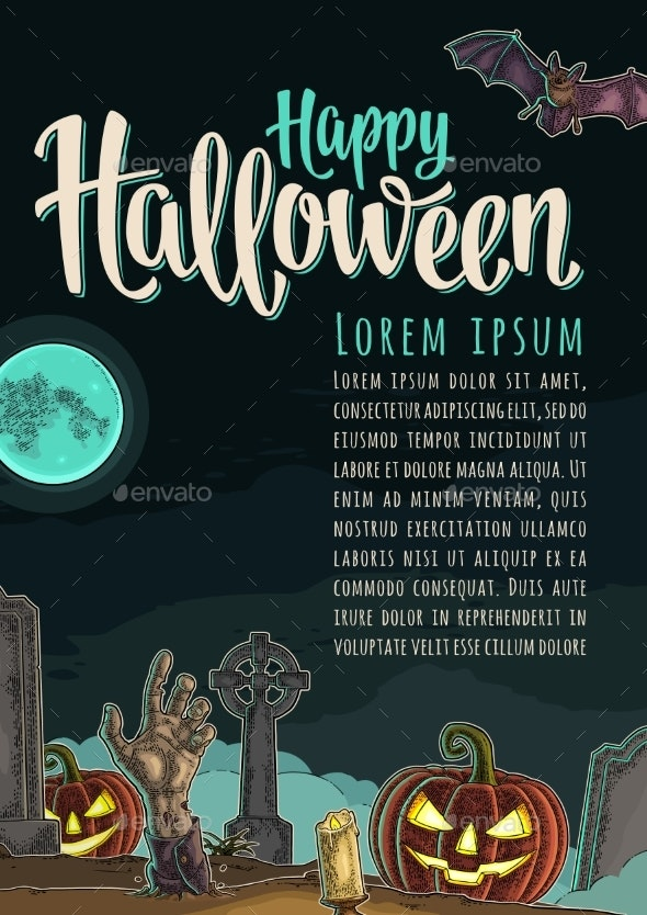 Vertical Poster with Happy Halloween Calligraphy - Halloween Seasons/Holidays