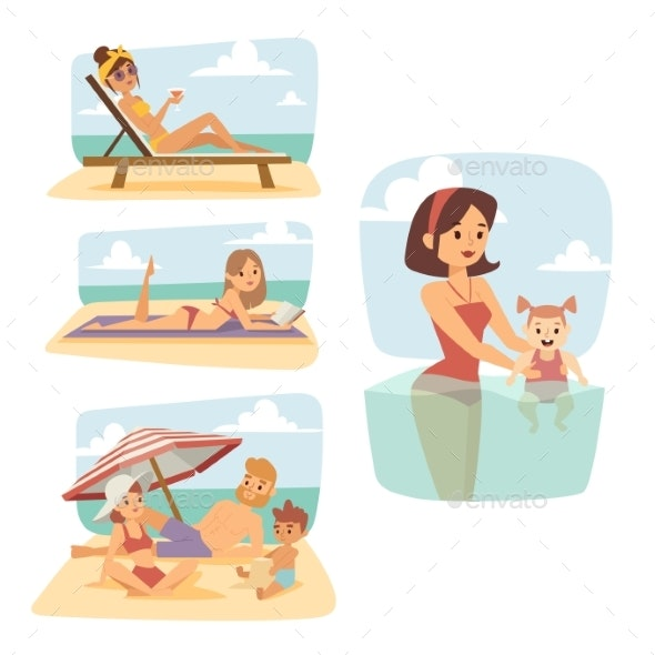 People on Beach Outdoors, Summer Lifestyle - People Characters