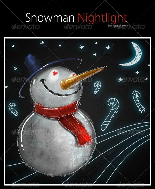 Snowman Nightlight - Characters Illustrations