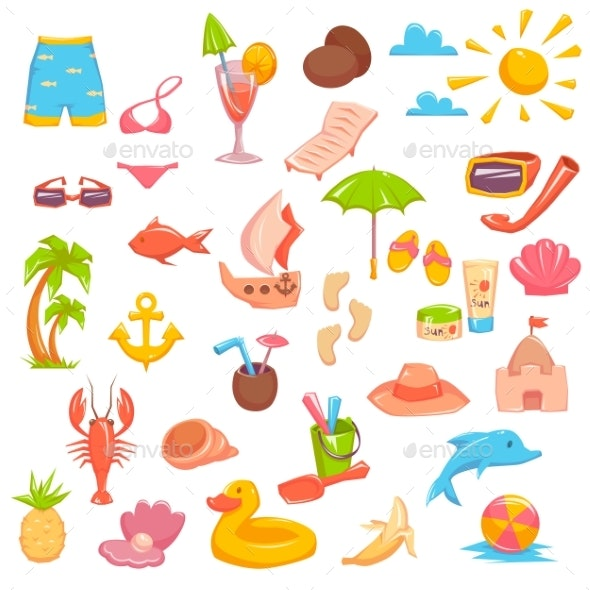 Elements for Seaside Vacation - Miscellaneous Vectors
