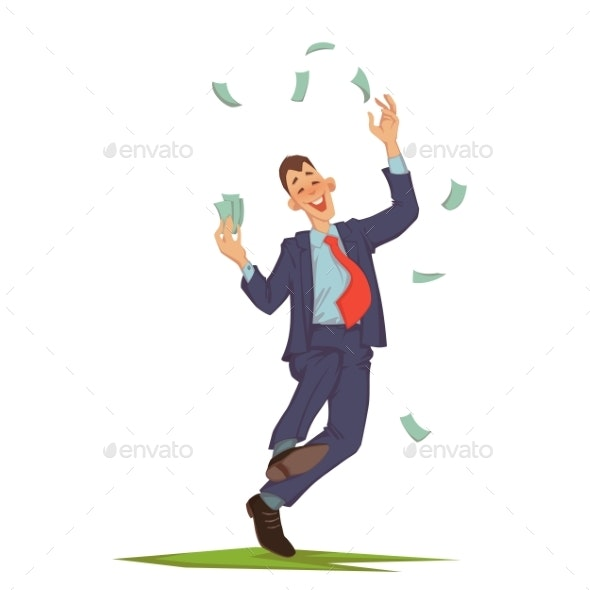 Businessman Throwing Up Money - Concepts Business