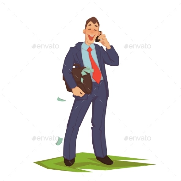 Vector Illustration of Businessman Talking Phone - Concepts Business
