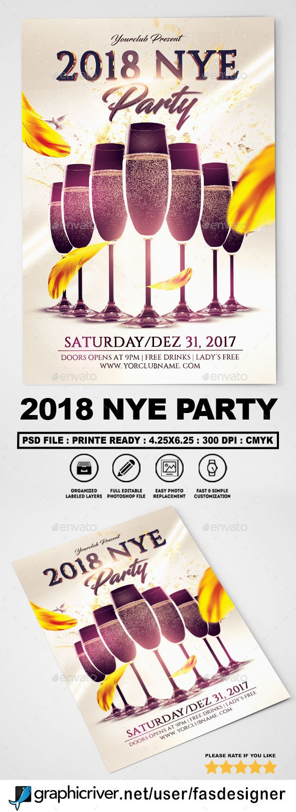 2018 NYE Party Flyer Template - Clubs & Parties Events