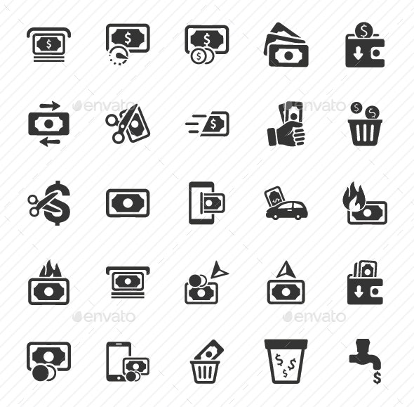 Money Icons - Gray Version - Web Icons