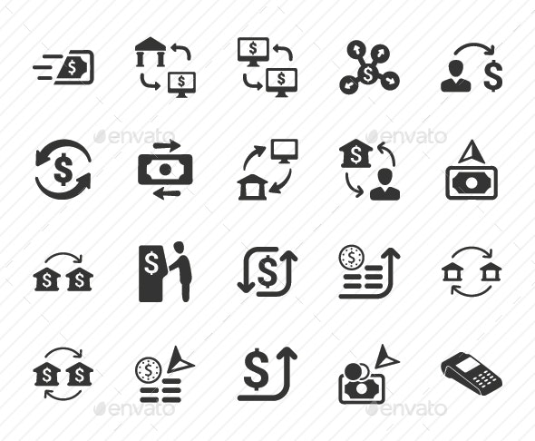 Money Transaction Icons - Gray Version - Business Icons