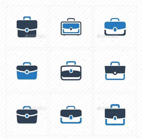 Office Bag Icons - Blue Version - Business Icons