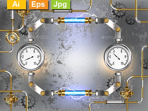 Gray Background with Manometers - Backgrounds Decorative