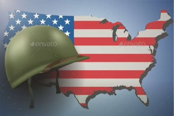 American Flag and Military Helmet - Backgrounds Decorative