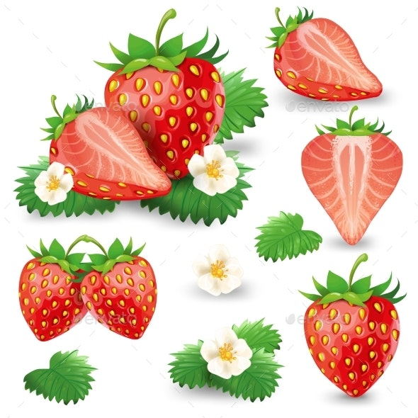 Ripe Strawberry with Leaves and Blossom Vector Set - Food Objects