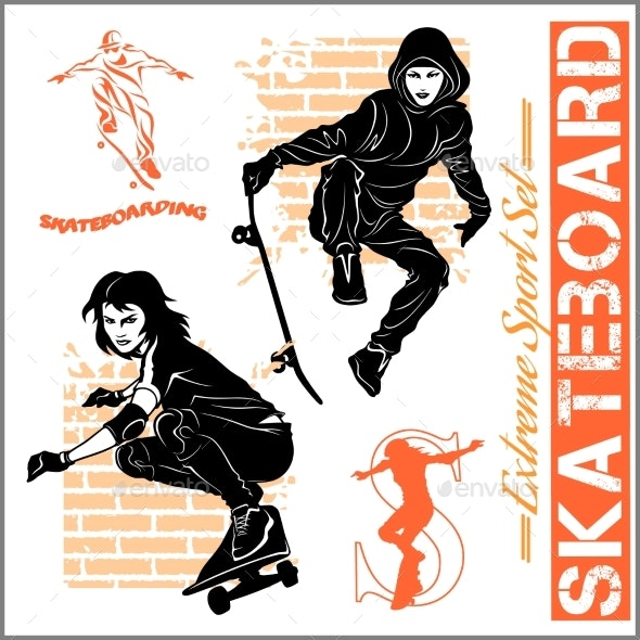 Skateboarders - Vector Set of Extreme Sport - Sports/Activity Conceptual