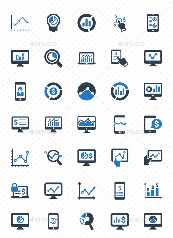 Online Business Report Icons - Blue Version - Business Icons