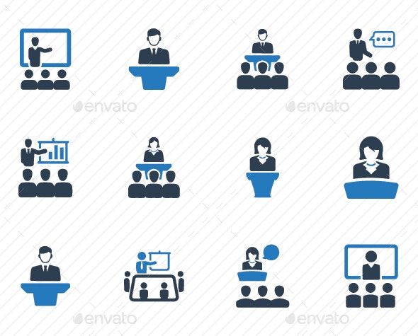 Presentation Icons - Blue Version - Business Icons