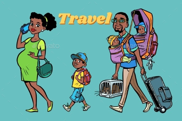 African Family Travelers, Mom Dad and Kids - People Characters