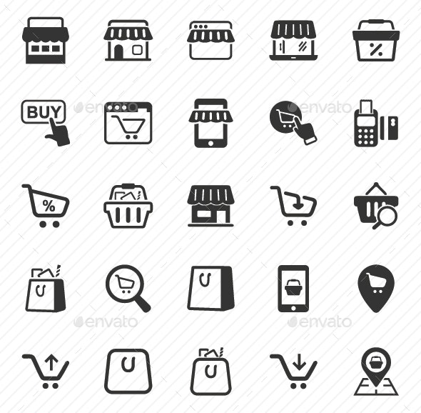 Shopping Icons - Gray Version - Business Icons