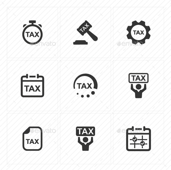 Tax Service Icons - Gray Version - Business Icons