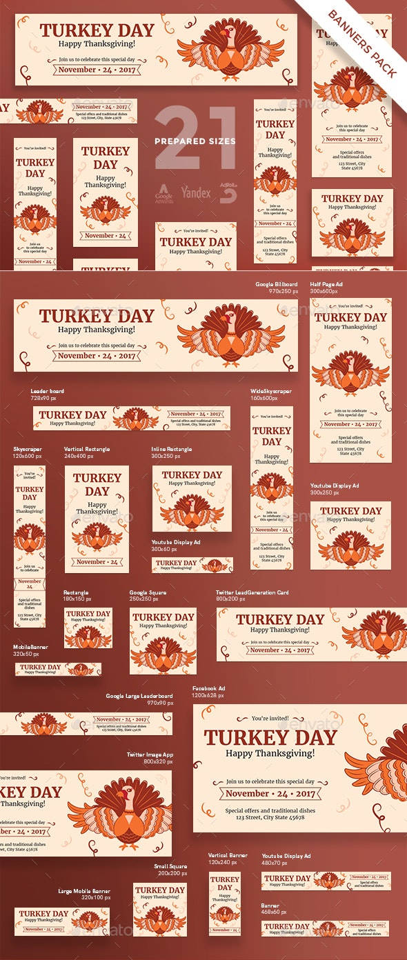 Turkey Day Banner Pack - Banners & Ads Web Elements