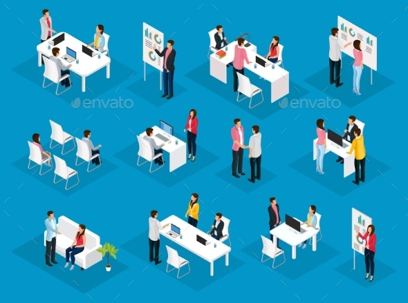 Isometric People Teamwork Set - Concepts Business