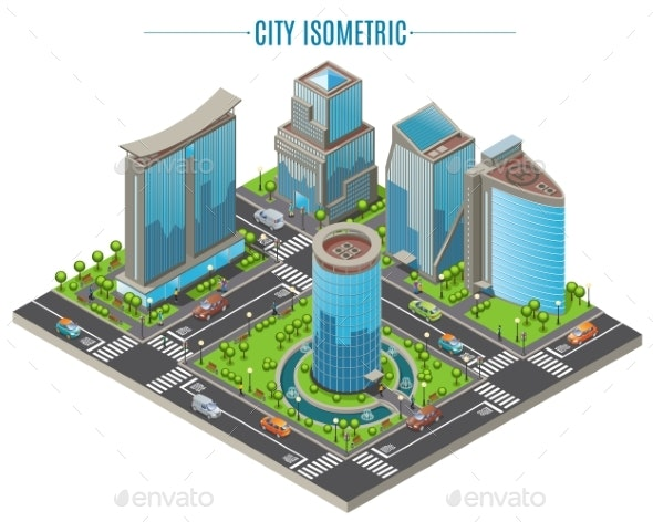 Isometric Business City Concept - Buildings Objects