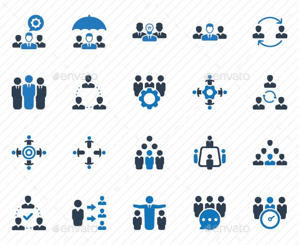 Teamwork Icons - Blue Version - Business Icons