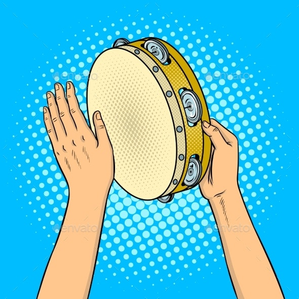 Hands with Tambourine Pop Art Vector Illustration - People Characters