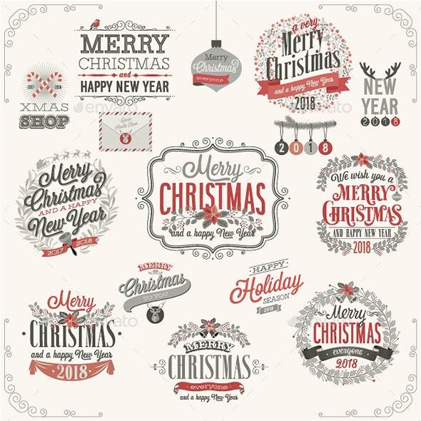 Christmas Set of Labels and Emblems - Christmas Seasons/Holidays