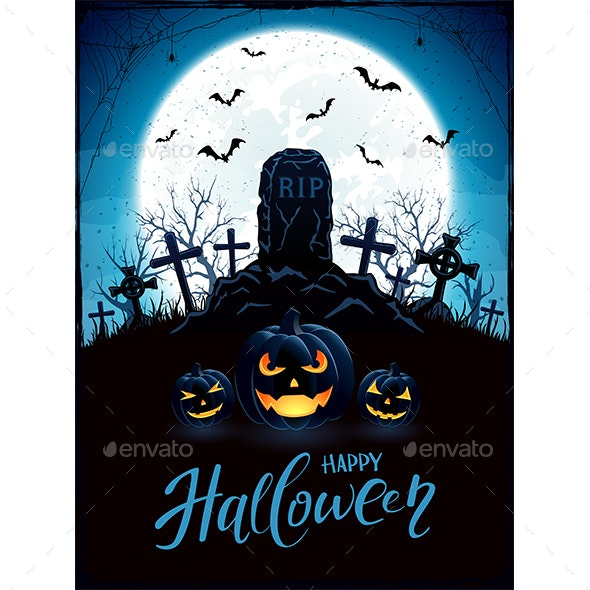 Halloween Background with Pumpkins and Tomb on Cemetery - Halloween Seasons/Holidays