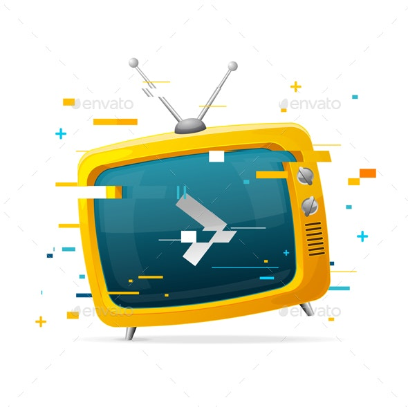 Retro TV Broadcasting Concept Glitch Style - Retro Technology