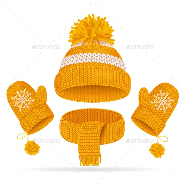 Hat with a Pompom, Scarf and Mitten Set - Man-made Objects Objects