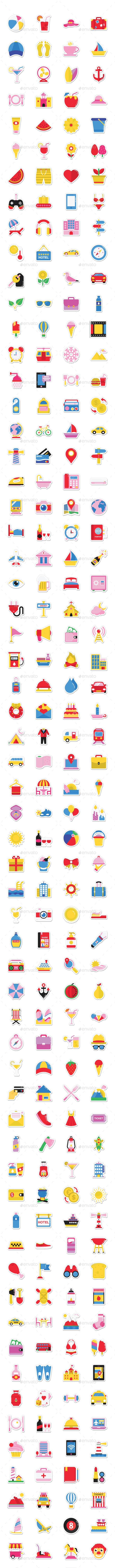 500 Summer and Holidays Stickers - Icons
