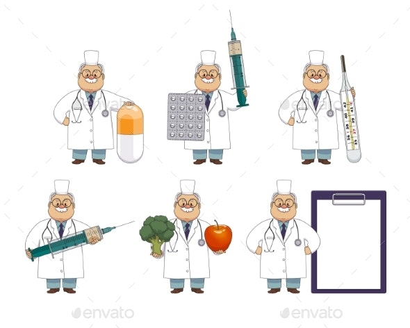 Old Man Doctor with Huge Medical Objects - Health/Medicine Conceptual