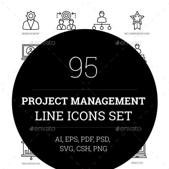 95 Project Management Line Icons