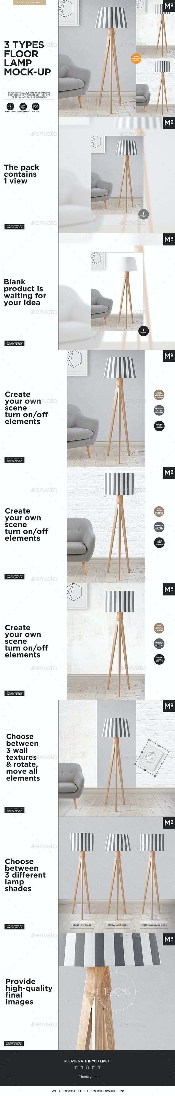 3 Types Floor Lamp Mock-up - Miscellaneous Product Mock-Ups