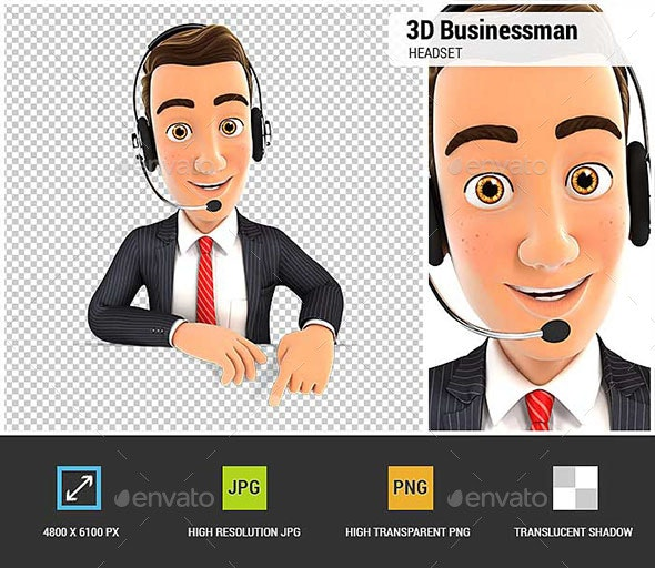 3D Businessman Headset Empty Wall - Characters 3D Renders