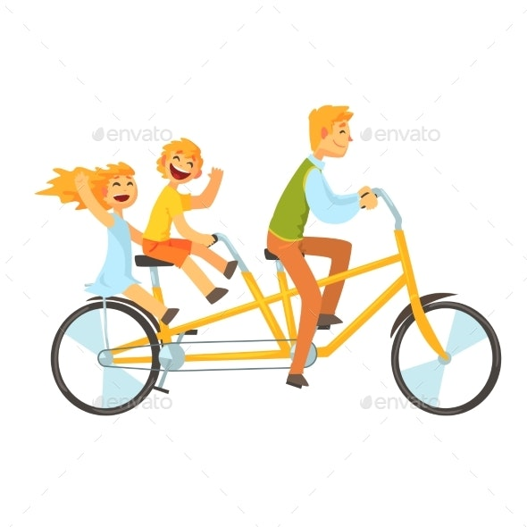 Father and Children Riding on Tandem Bicycle - People Characters