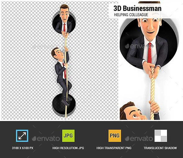 3D Businessman Helping Colleague to Climbing on Rope - Characters 3D Renders