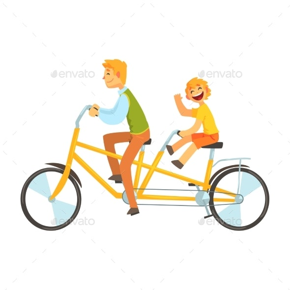 Father and Daughter Riding on Tandem Bicycle - People Characters