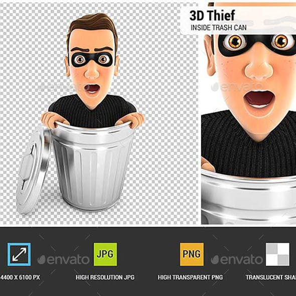 3D Thief Inside Trash Can