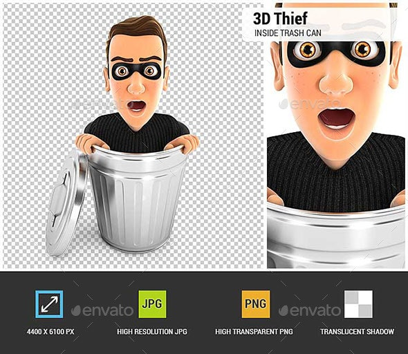3D Thief Inside Trash Can - Characters 3D Renders