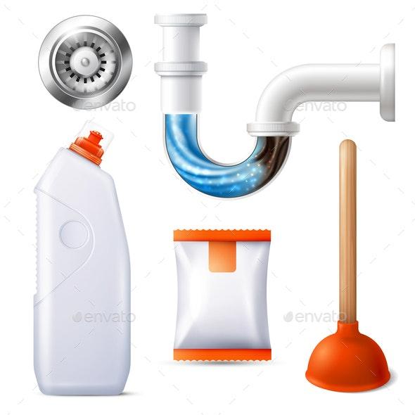 Drain Cleaner Icon Set - Miscellaneous Vectors