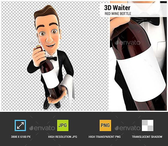 3D Wine Waiter Holding Red Wine Bottle - Characters 3D Renders