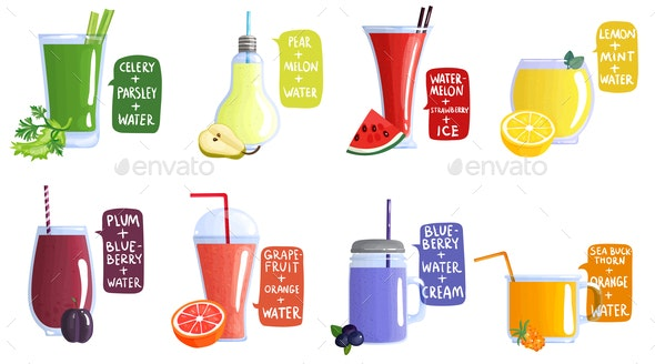 Smoothie Recipe Icon Set - Food Objects