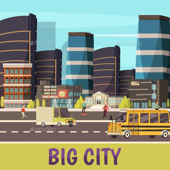Big City Orthogonal Background - Buildings Objects