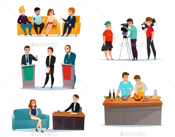 Talk Show Participants Set - People Characters