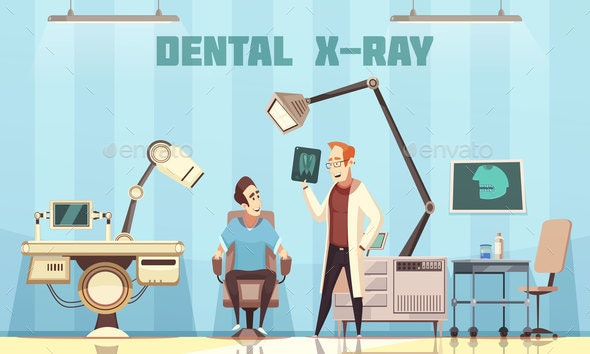 Dentist Holding Roentgen Picture and Patient - Health/Medicine Conceptual