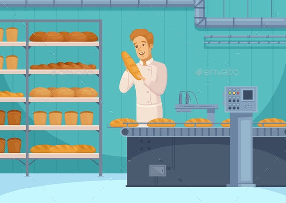 Bread Production Cartoon Composition - Food Objects