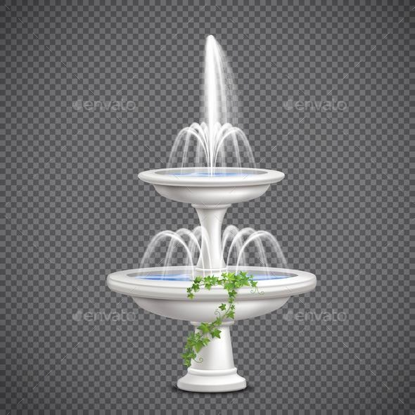 Cascade Water Fountain Realistic Transparent - Buildings Objects
