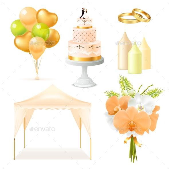 Realistic Wedding Elements Set - Weddings Seasons/Holidays
